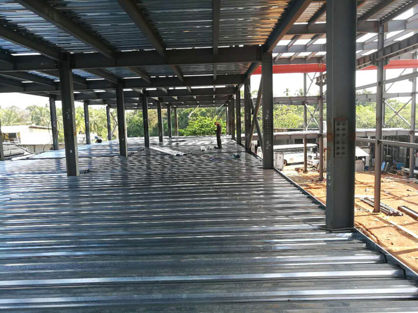 floor of 4 StoryPrefab Steel Frame Structure Factory