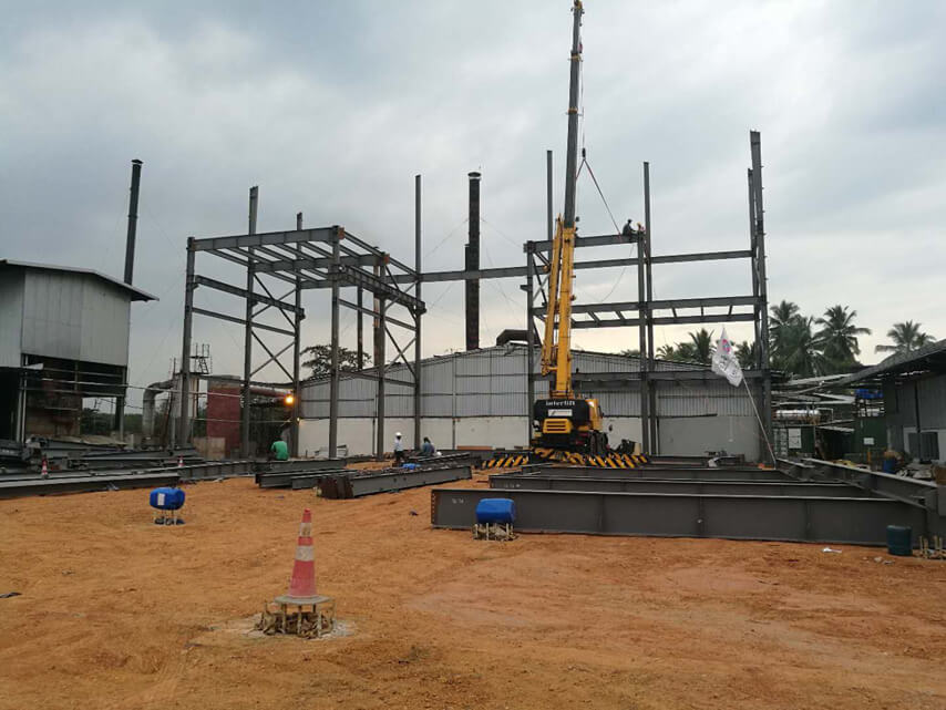 4 Story Prefab Steel Frame Structure Factory