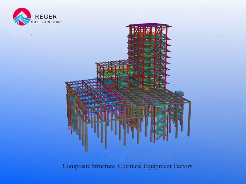3D Drawing of Steel Structure Factory with Composite Structure Chemical Equipment