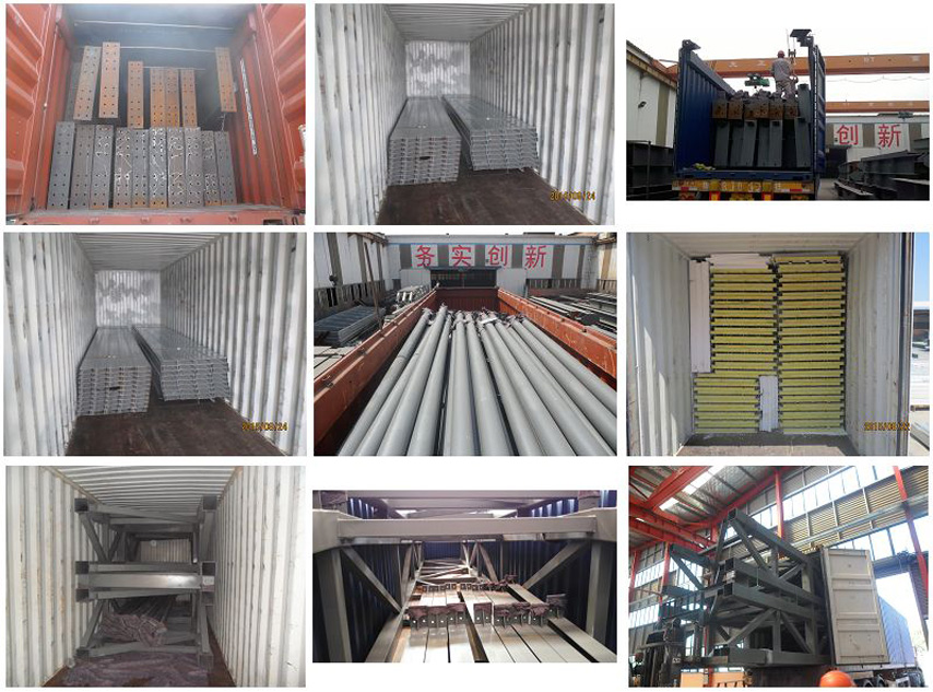 packing and shipping of steel structure hangar